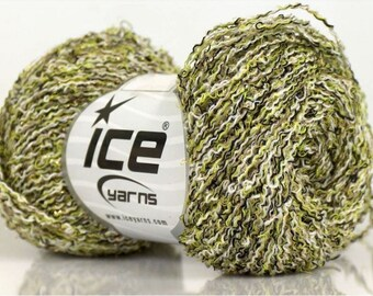 WOOL VISCOSE CRISP WHITE GREEN BLACK 50G FINGERING 3 //54 ICE
