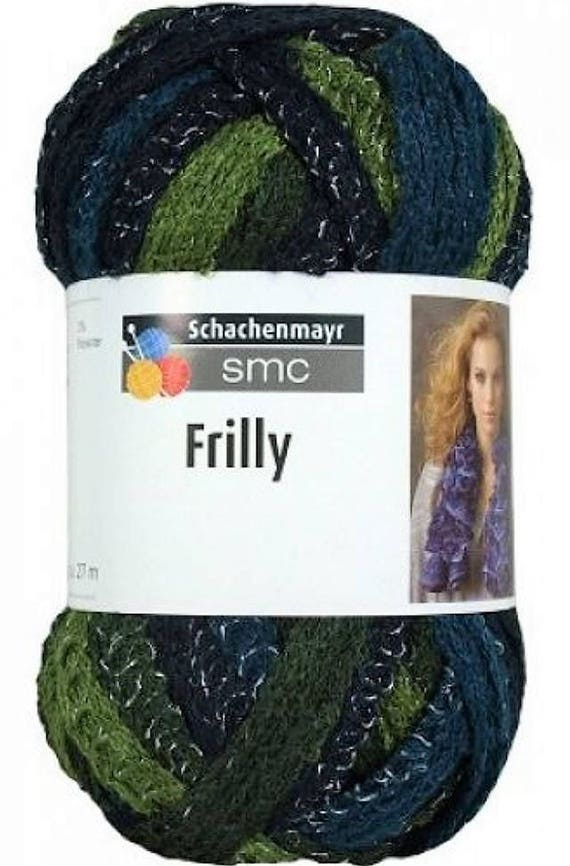 laine froufrou SMC FRILLY 100gr bleu et vert 89   Etsy