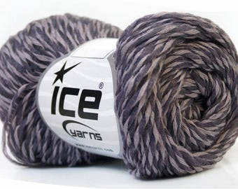STRIPED LIGHT MAUVE AND DARK 50G FINGERING WOOL ICE BAFFO (52% COTTON) COTTON 3 / / 55