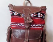 Moroccan Leather Brown Bag Color handmade Design With Leather Material Carpet