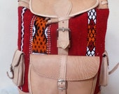 Moroccan beige color bag handmade with pure leather design carpet material