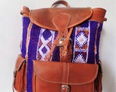 Moroccan Leather Bag Brown Color handmade Design With Leather Material Carpet