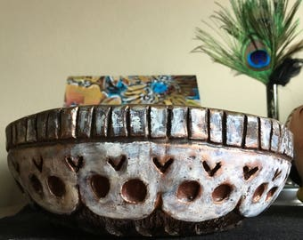 Hand-built Ceramic Bowl with upsidedown Day of the Dead Skulls