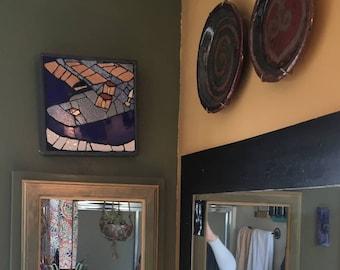 "9-3/4 x 9-3/4"" Blue Reverend Electric Guitar Ceramic Tile Mosaic or Trivet"