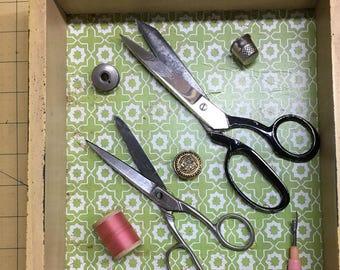 Grandmas Sewing Tools, Vintage scissors, bobbins, seam ripper and thimbal
