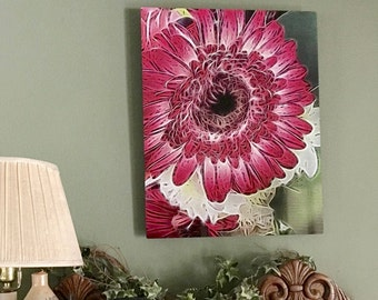"""16x20"""" Abstract Flower Print on Metal, Floating Frame"""