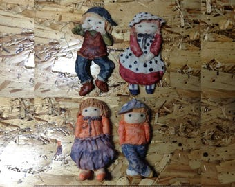 Cute Kids Hand Painted Plaster Doll Figures