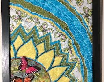 Sunflower, Butterflies, and Dragonflies Fiber Art w/Feather Butterflies