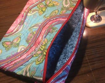 18x10 Stitch and Slash Quilted Glitter Butterfly Bag