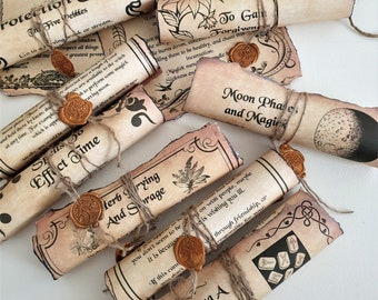 Book of Shadows scrolls sealed with a Tree Of Life wax seal, Wiccan decor, Witchcraft decor, White Magic room decor, Halloween decor