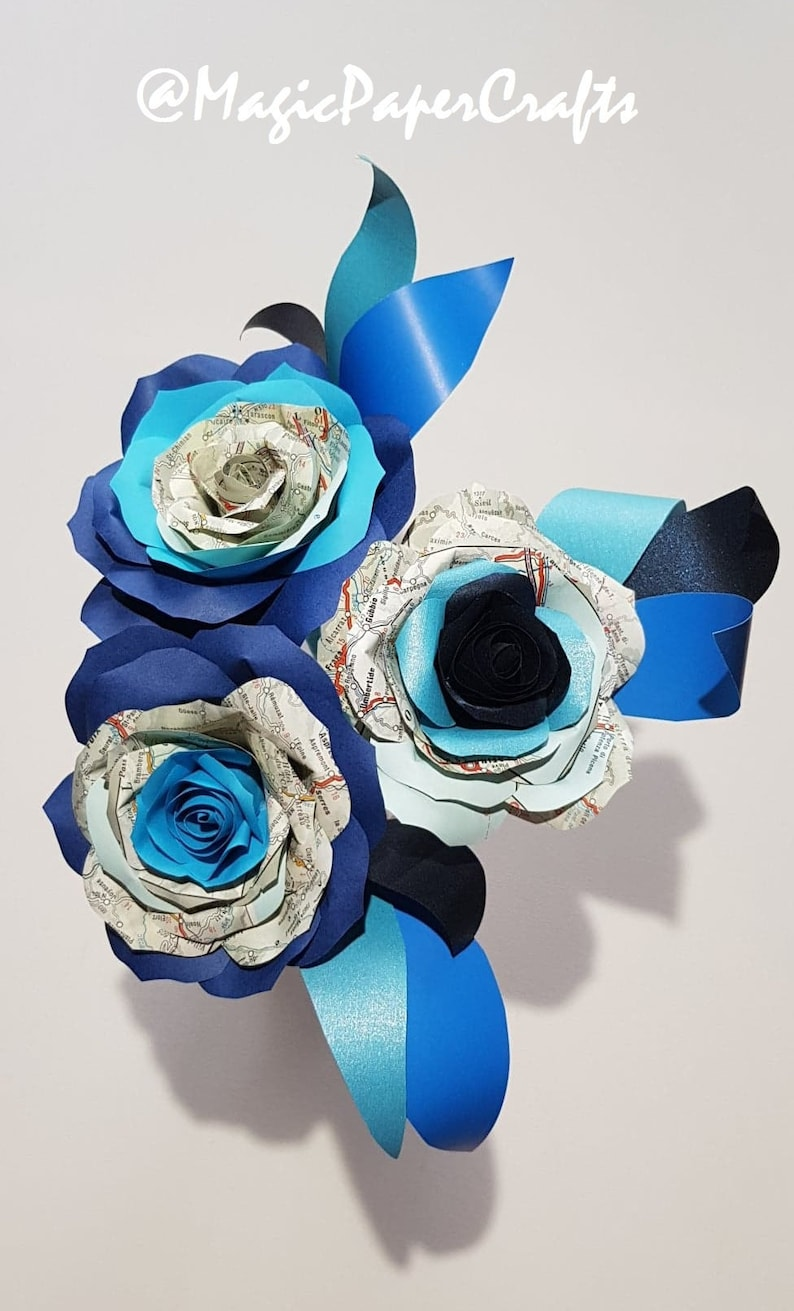 Travel Theme Flowers Mix Of Blue Colour Paper And Europe Etsy