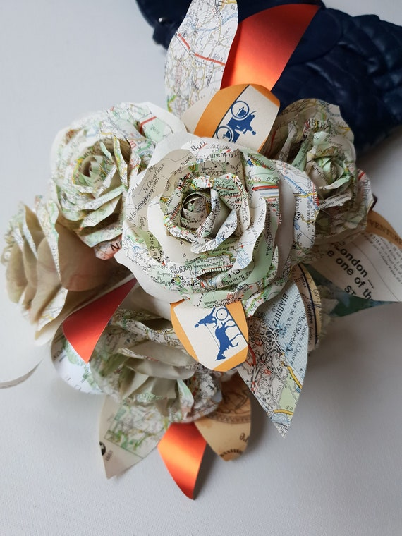NY city map bouquet travel bridesmaid bouquet custom colours road map flower street map wedding bouquet travel theme wedding bouquet