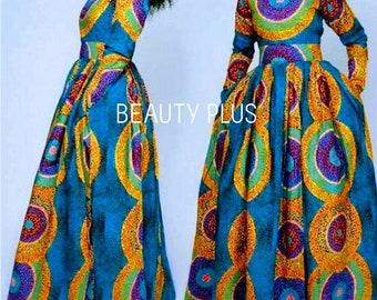 cc37aef95 African women clothing   African print maxi dress  African party dress   GT2003  full flare dress kitenge dress