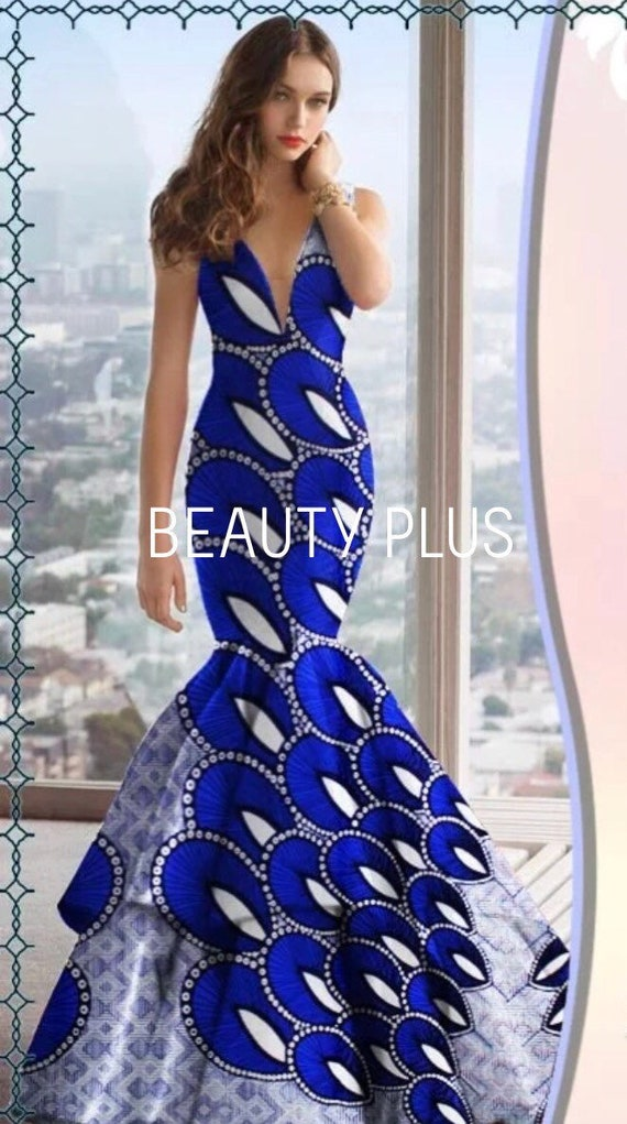African women clothing/ African print fit and flare dress/Ankara long dress  for plus size/ African fashion dress/GT2800