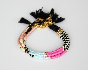 Boho chic bracelet friendship bracelet Tassel Bracelet ONE beaded  bracelet-Black tassel