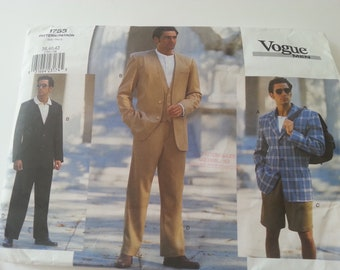 Mens Jacket,Vest, Pants,Shorts, Vogue 1753, 38,40,42, Pattern , Wedding, Birthday, Work, Evening, Prom, Theatre, Screen, costume