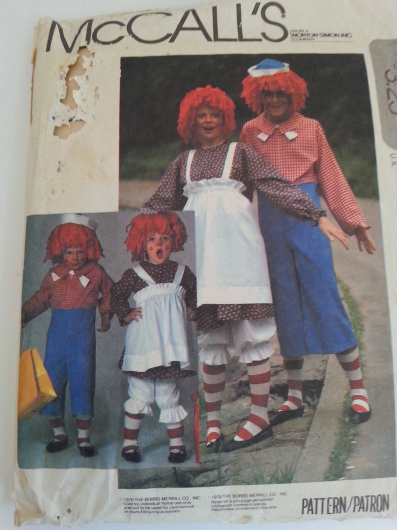 Raggedy Ann and Andy Costume Pattern Size L Misses Halloween Party Kids Party