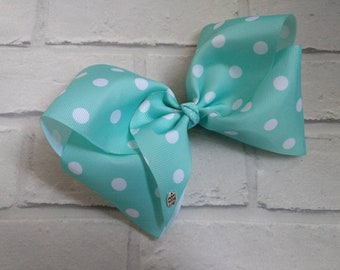 "Large 8"" inch Turquoise & White Polka Dot Boutique Hair Bow with alligator clip like JoJo Siwa Bows Signature Keeper Dance Moms Party Gift"