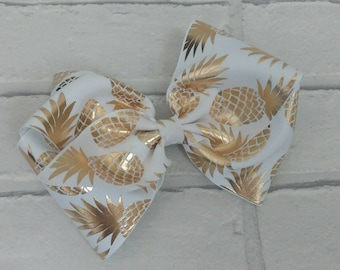"Girls large 6"" inch white & gold pineapple boutique hair bow with alligator clip like JoJo Siwa Bows Signature Keeper Dance Moms"