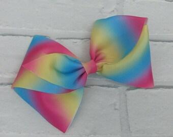 "Girls large 6"" inch rainbow swirls boutique hair bow with alligator clip like JoJo Siwa Bows Signature Keeper Dance Moms"