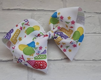 """Girls large 8"""" Birthday Girl boutique hair bow with alligator clip like JoJo Siwa Bows Signature Keeper Dance Moms party birthday"""