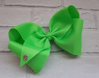 "Girls large 8"" inch Neon Green boutique hair bow with alligator clip like JoJo Siwa Bows Signature Keeper Dance Moms summer"
