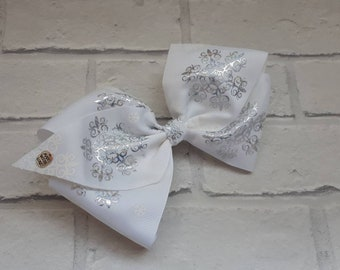 "Girls large 8"" White Silver print boutique hair bow with alligator clip like JoJo Siwa Bows Signature Keeper Dance Moms party birthday"