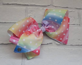 """Girls large 8"""" inch rainbow dots boutique hair bow with alligator clip like JoJo Siwa Bows Signature Keeper Dance Moms summer"""