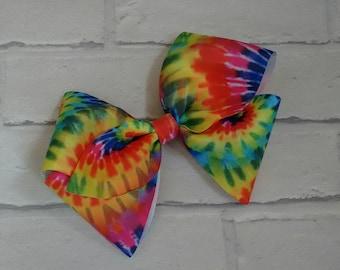 "Girls large 8"" inch bright rainbow tye dye boutique hair bow with alligator clip like JoJo siwa bows signature keeper dance moms"
