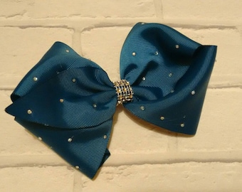"""Girls large 8"""" inch blue Christmas Angel boutique hair bow with diamantés like JoJo Siwa Bows Signature Keeper Dance Moms School Party Gift"""