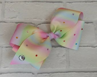 "Girls large 6"" inch pastel rainbow boutique hair bow with diamantés like JoJo Siwa Bows Signature Keeper Dance Moms"