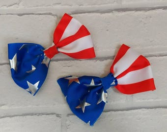 "Set of 2, 4"" inch patriotic American Flag boutique cheer bow dickie bow inspired by JoJo Siwa Bows Signature keeper dance moms July 4th"