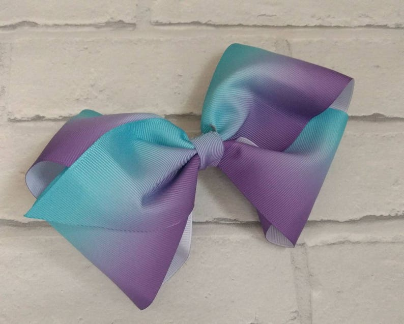 42d350e58374f Large 8 Purple & Turquoise Ombre Boutique Hair Bow with   Etsy