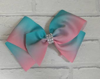 "Large 8"" Pink & Blue Ombre Boutique Hair Bow with Rhinestones like JoJo Siwa Bows Signature Keeper Dance Moms"