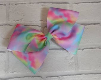 "Girls large 8"" inch pastel rainbow tye dye boutique hair bow like JoJo Siwa Bows Signature Keeper Dance Moms"