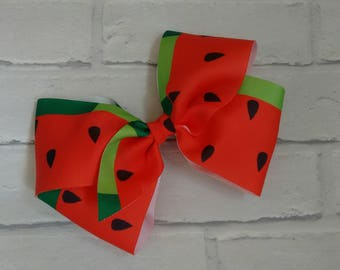 Girls large 8 inch red green watermelon boutique hair bow with alligator clip like JoJo siwa bows signature keeper dance moms
