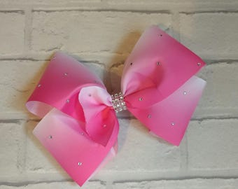 """Large 8"""" Pink Ombre Boutique Hair Bow with Rhinestones just like JoJo Siwa Bows Signature Keeper Dance Moms"""