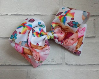 """Large 8"""" inch JoJo Siwa Print Boutique Hair Bow with alligator clip like JoJo Siwa Bows Signature Keeper Dance Moms Party Gift Birthday"""