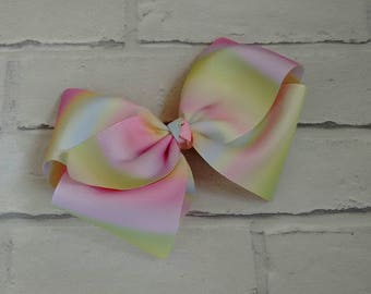 """Girls large 8"""" inch pastel rainbow boutique hair bow with Allgator clip like JoJo siwa bows signature keeper dance moms"""