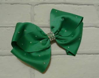 "Girls large 8"" inch green Christmas boutique hair bow with diamantés like JoJo Siwa Bows Signature Keeper Dance Moms School Party Gift"
