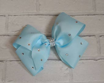 "Large 8"" Baby Blue Boutique Hair Bow with Rhinestones like JoJo Siwa Bows Signature Keeper Dance Moms"