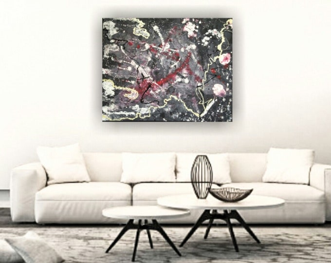 Large abstract painting, wall decor, home decor, splatter acrylics