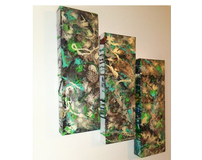 Abstract Triptych, 3pc painting, abstract artwork, poured acrylics, pour canvas art, fluid art, fluid abstract art
