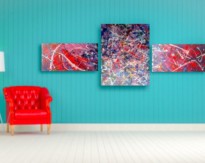 Abstract triptych canvas set, 3pc canvas artwork, abstract paintings, original acrylic paintings, acrylics on canvas, abstract art