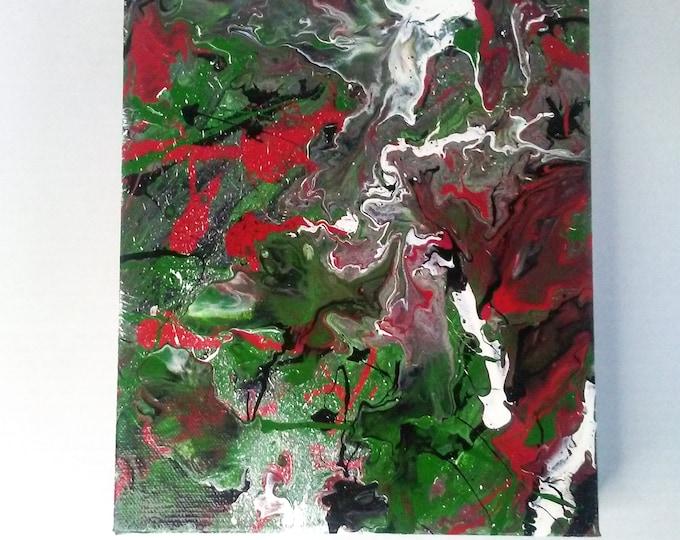 "8""×10""×1.5"" Original Abstract Poured Fluid Art Wall Art Decor Home Decor Abstract Artwork Poured Acrylics"