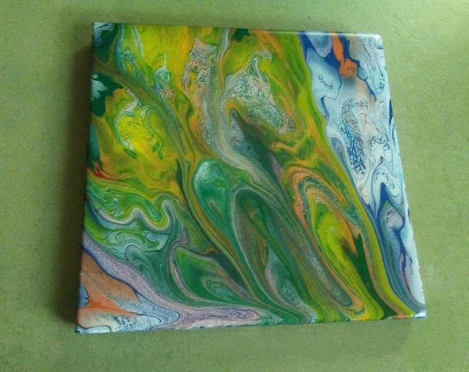 "8""×8"" Poured acrylics on ceramic tile"