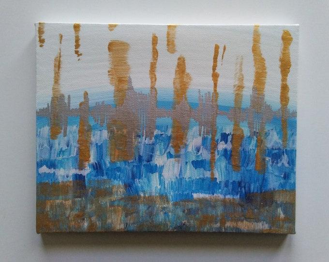 Original abstract painting, palette knife painting, abstract waves, wall art decor, home art, art, original art, metallic acrylics