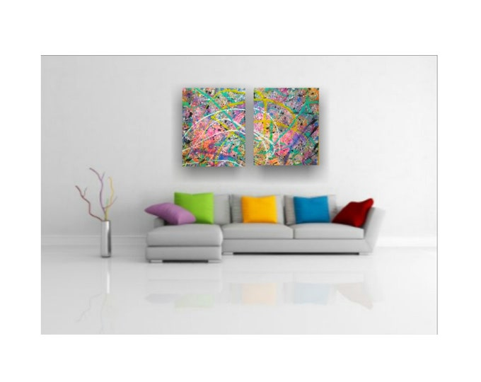 "Planet of the Colors- 32""× 40"" Diptych, Abstract Splatter on canvas, 2pc Bright Vivid Colorful Set"