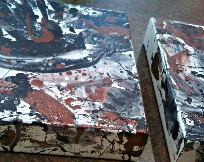 """Untitled- 8""""×16""""×1.5"""" Abstract Diptych Painting"""