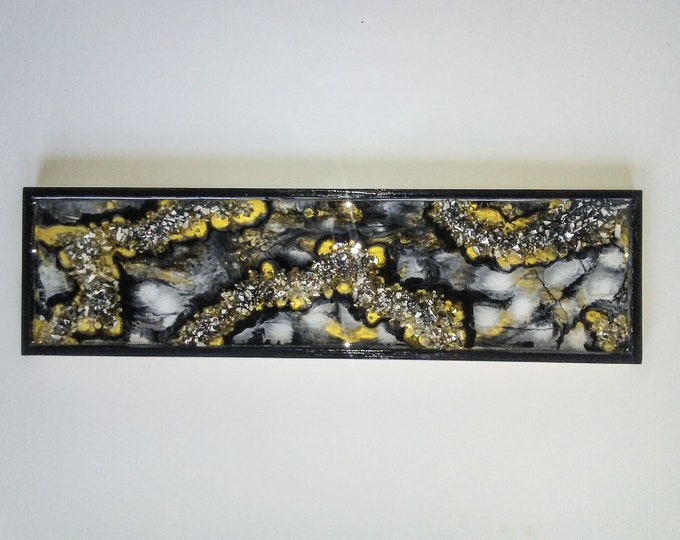 Abstract handpainted wood plaque, resin art, wall art, wood art